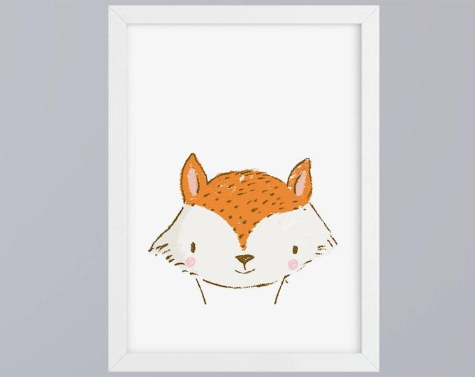 Drawn - Fox art print without frame