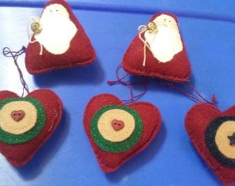Five hand-sewn Christmas ornaments three hearts to Santa one sided adorable