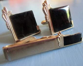 Vintage SWANK Cufflinks and Tie Clip Set, Art Deco, Black Glass, Gold Tone, Mens Accessories, Groomsmen, Gifts for Him, Mens Jewelry, 1950s