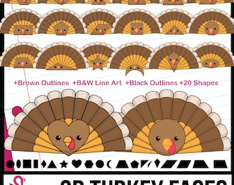2D Shapes: Turkey Face Shapes Clipart