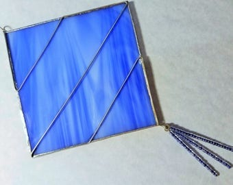Stained Glass Suncatcher Ornament; Blue Square