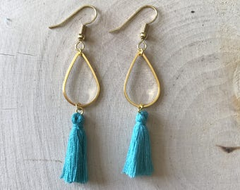 Turquoise tassel and gold connector earrings