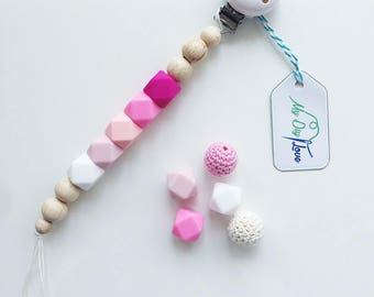 Pacifier pink with silicone beads