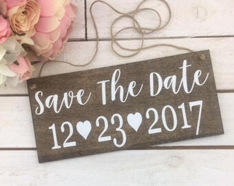 "Save The Date Wedding Sign-Rustic 12""x 5.5"" Sign-Wedding Save The Date Heart Sign-Country Chic Engagement Sign"