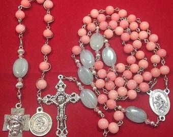Handmade rosaries, Saint Christopher catholic rosary + single decade rosary set