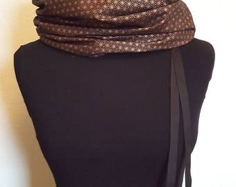 Snood in black and bronze Japanese fabric