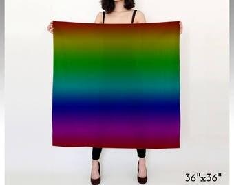 Rainbow Scarf, Striped Scarf, Ombre Scarf, Dark Rainbow, Printed Scarf, Square Scarf, Long Scarf, Rainbow Print, Pride Scarf, LGBTQ Scarf