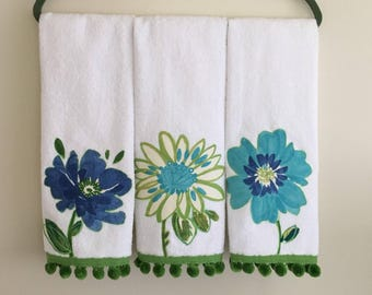 Blue / Green Terry Cloth Floral Kitchen Towels - Set of 3