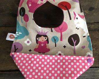 Scalable reversible baby bib bandana bavana Princess bib child Unicorn Castle girl purple pink dots