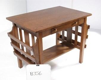 B356 Antique Arts & Crafts Mission Quarter Sawn Tiger Oak Desk, Library Table