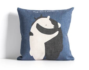 Hug Each Other Pillow, Bear Pillow Cover, Decorative Pillow Cover, Throw Pillow, Sofa Pillow Covers, Pillow Covers.