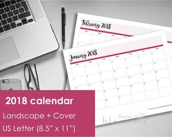 "Printable 2018 Calendar, Landscape. US Letter Size (8.5""x11""). Instant download. PDF format High resolution 300 dpi. Landscape calendar 2018"