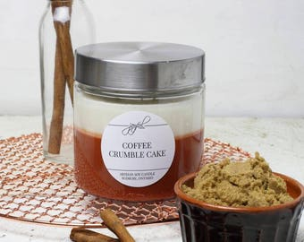 Soy Candle | Mason Jar Candles | Food Gift | Container Candles | Homemade Candles | Dessert Scented Candle | Coffee Crumble Cake 24 oz