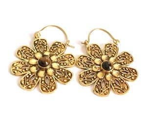 Brass earrings, tiger eye earrings, gold hoop earrings, ethnic jewelry, tribal earrings, gemstone earrings, gold hoops, mandala earrings