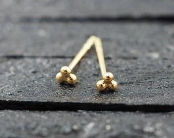 Gold Three balls stud Earring