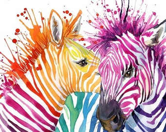 Zebra Large print Wall Art, Art Print on Canvas, Horses, Colorful Painting, Canvas Art, Interior Art, Living Room Decor