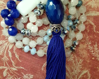 Agua Costa ~ Azure Blue Agate Boho Extra Long Hand-Knotted Tassel Necklace
