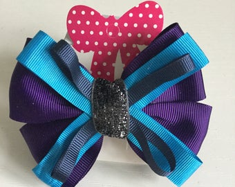 Purple and blue hair bow