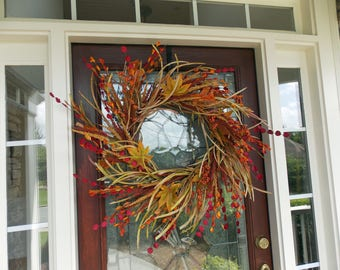 XXL Wreath-Fall Wreath-Autumn Wreath-Thanksgiving Wreath-Fall Door Decor-Fall Door Wreaths-Natural Wreath-Front Door Wreaths-Wispy Wreath