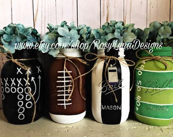 Set of 4, 5 or 6 Quart sized football themed mason jars, Game day party, football themed birthday party, centerpiece