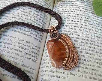Pendant//wire wrapping//agate//Hand woven//handmade//Jewelry