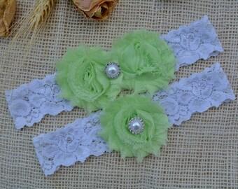 Garter Neon Green, Wedding Garters, Wedding Garter Belt, White Lime Green, Vintage Inspired, Bridal, Lace Garter White, Wedding Garter Set