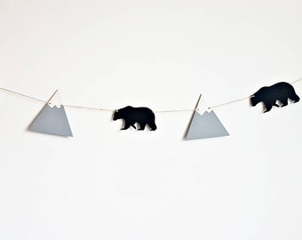 Bear and mountain bunting, wooden decor, nursery bunting, tribal decor, adventure decor, monochrome nursery