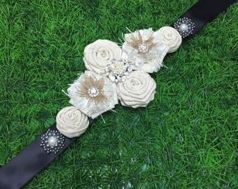 Vintage Flowers Sash Belt, Wedding Sash Ivory Bridal Belt, Flower Girl Sash, Bridesmaid and Maternity Sash Belt