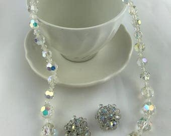 Vintage Glass Necklace and Earring Set, Wedding Jewelry, Bridal Jewelry, Multifaceted Clear Beads, Matinee Length Necklace, Demi-Parure
