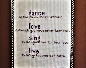 Finished Cross Stitch Dance Love Sing Live
