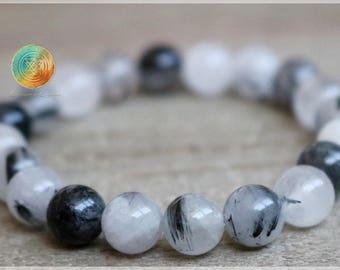 Rutilated Quartz Bracelet, 8mm Genuine Rutilated Quartz, Healing Crystal, Crystal Quartz Jewelry, Allign Chakra Stone, Rutile in Quartz