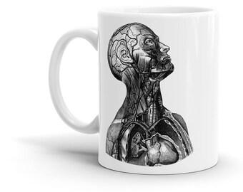Human Coffee Mug, Heart, Anatomic, Anatomy, Brain, Vintage, Retro, Funny, Cute Gift