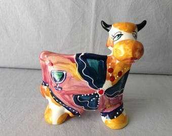 An original vintage signed, Anatoly Turov ceramic cow