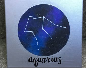 aquarius constellation acrylic canvas