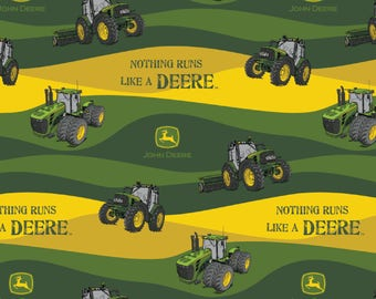 "New John Deere Fabric: John Deere -Nothing Runs Like a John Deere Hills  100% cotton Fabric by the yard 36""x43""  SC470"