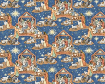 "Christmas Fabric, Religious Fabric: God Will to All Nativity Scene  100% cotton Fabric by the yard 36""x44""  (SC296)"