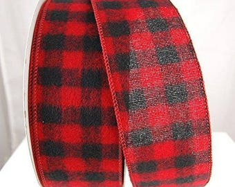 "5 yds Buffalo Plaid Black & Red  Wired Ribbon 2-1/2"" wide cut  rustic ribbon, Christmas decor, gift wrap  black, farmhouse ribbon"