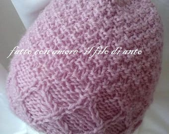 Pink hat with pure wool braids 100%