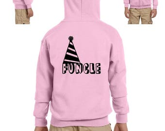 Funcle Fun Uncle Christmas Birthday Fathers Day Gift Match with Hats Jeans Shoes Heavy Blend Youth Full-Zip Hooded Sweatshirt