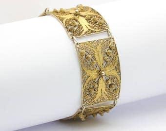 Vintage gold Wash Filigree wire work Bracelet, panel bracelet, vintage silver bracelet, gold bracelet, free shipping, vintage jewelry