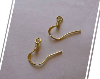 Earring Hooks, Gold Tone Earring Wires Hooks, Flat Earring Hooks, Flat Coil Ear Wires, Gold Earring Findings, Fish Hooks Earrings (ER13)