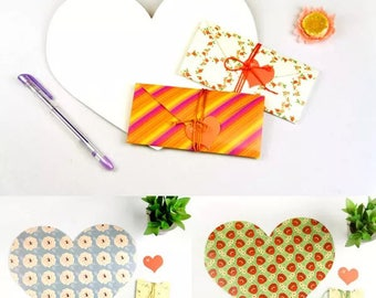 Unusual designed foldable heart gift envelope for jewellery/ money or notes in five colour choices