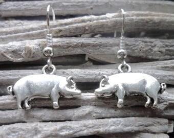 Pig Earrings, Pig Gift, Farm Animal  Jewellery, Piggy Dangle Earrings, Pig Farmer, Pig Lover, Smallholder Gift, Farm Gift