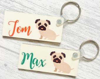 Pug keyrings; pug bag tags; personalised pug items
