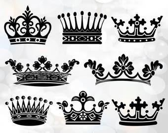 Crown Svg - Crowns Svg - Crown Monogram Svg - King and queen svg - Cricut Cut Files -  digital download vector files svg, png, dxf, eps