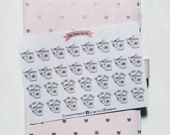 Cute Coffee Cat Planner Stickers   Planner Stickers, Journal Stickers, Scrapbook, Bullet Journal, BUJO Stickers, Bullet Journal Stickers