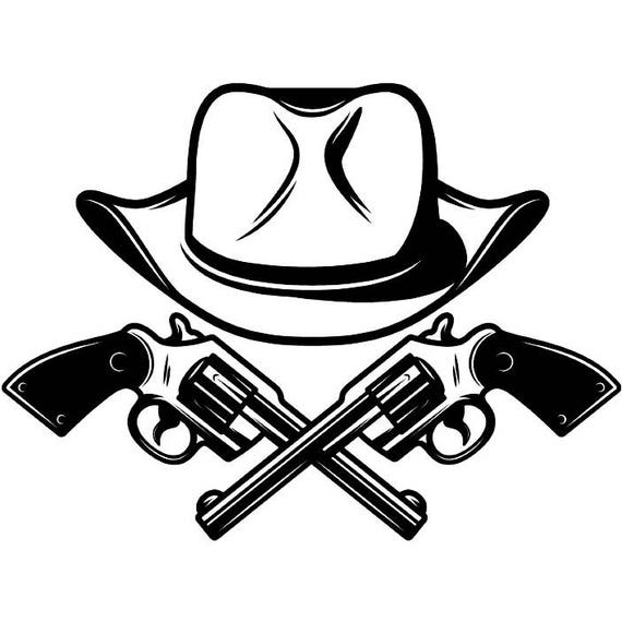 cowboy logo 27 guns outlaw gunslinger hat country western