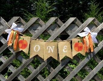 Peach Burlap Banner