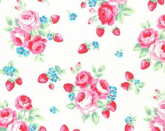 1 yard White Floral Strawberries from Lecien Flower Suagr Berry Fall 2017 collection, cotton fabric