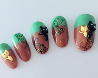 3D cats sculpture nail art / Handmade artificial nail tips